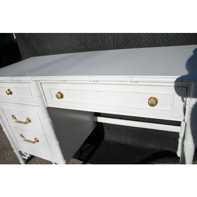 1970s Thomasville Allegro Faux Bamboo Desk For Sale - Image 9 of 11