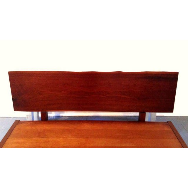 Wood Platform Bed With Walnut Headboard in the Style of George Nakashima For Sale - Image 7 of 11