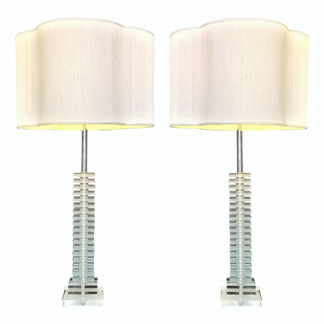 Vintage Art Deco Skyscraper Stacked Lucite and Chrome Table Lamps - a Pair - Mid Century Modern Palm Beach Boho Chic For Sale - Image 12 of 12