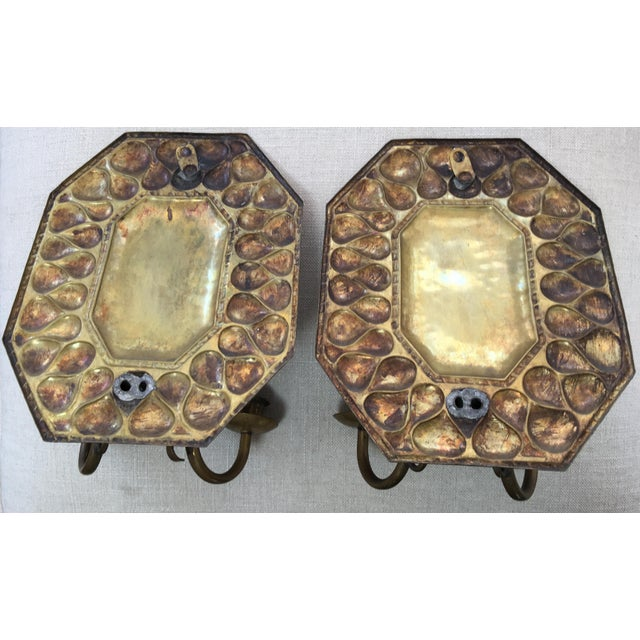 Late 19th Century Antique Continental Brass Repousse Wall Candle Sconces - a Pair For Sale - Image 5 of 13