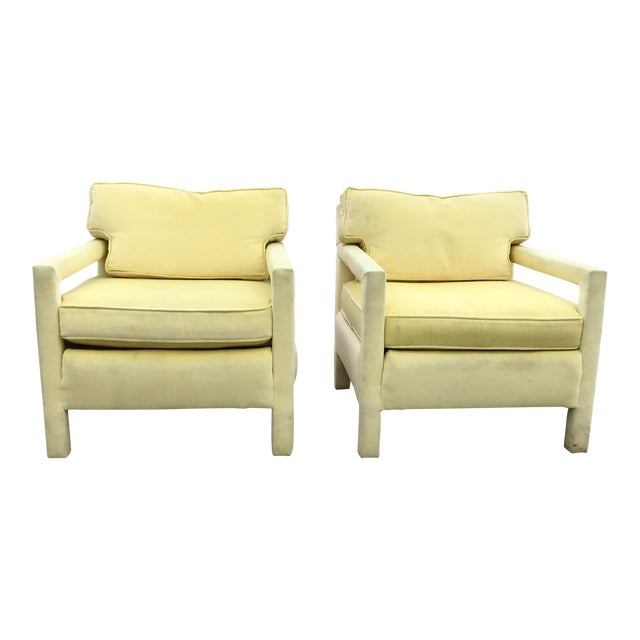 1980s Vintage Yellow Velvet Milo Baughman Style Parsons Open Arm Club Chairs- A Pair For Sale