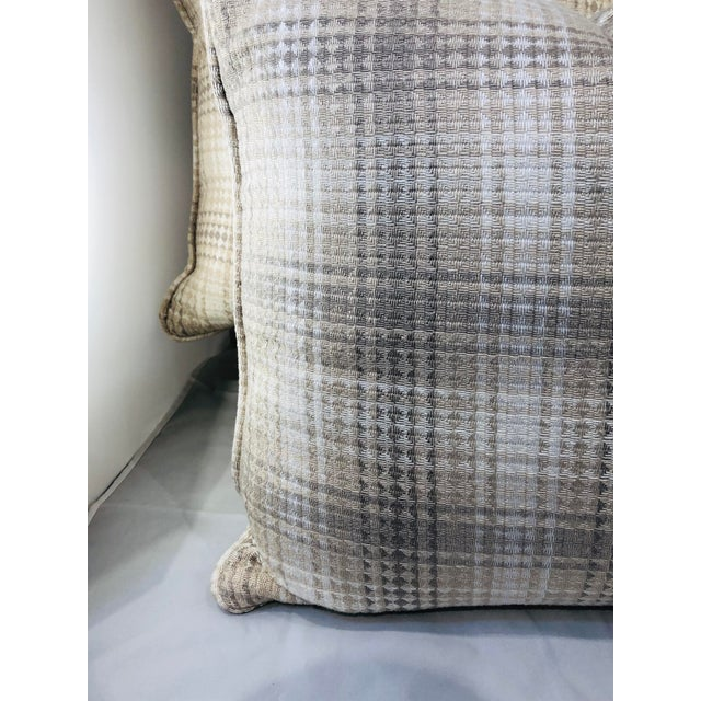 """2010s 20"""" Square Plaid Robert Allen Pillows - a Pair For Sale - Image 5 of 9"""