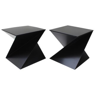 Pair of Black Metal Zig-Zag Side Tables For Sale