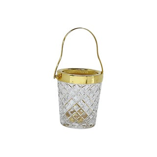 1950s French Crystal & Gilded Ice Bucket For Sale