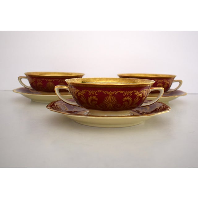 Heinrich and Co. Selb H & C Bavaria German Porcelain Red and Gold Encrusted Handled Soup Bowl and Saucer - Set of 3 For Sale - Image 13 of 13