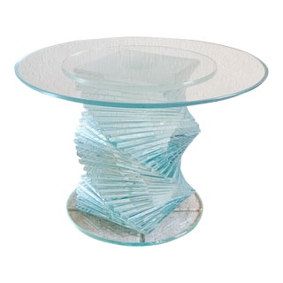 Contemporary Glass Helix Side Table For Sale