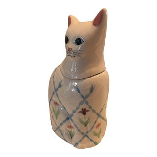 1980s Handpainted Cat Cookie Jar For Sale