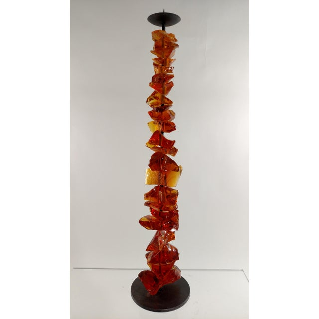 Murano Amber Glass Candlestick For Sale - Image 5 of 6