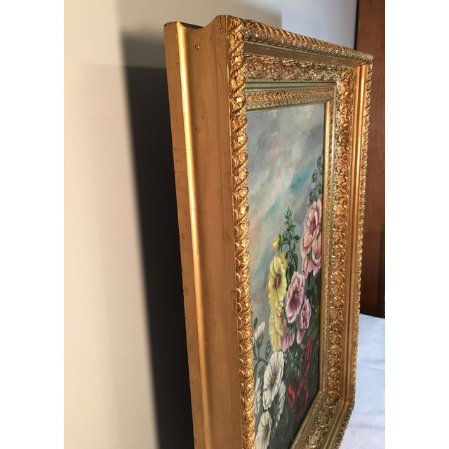 Antique Floral Oil Painting For Sale - Image 10 of 11