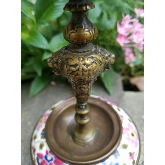Continental Bronze & Porcelain Candlestick - Image 3 of 9