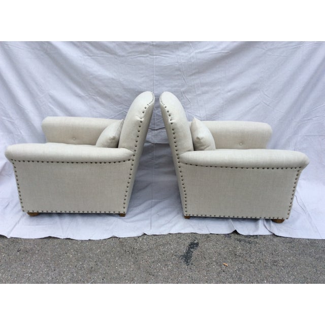 Restoration Hardware Restoration Hardware Club Chairs - a Pair For Sale - Image 4 of 8