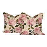 Image of Cotton Peony Floral Pillows For Sale