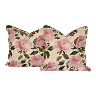 Cotton Peony Floral Pillows - A Pair For Sale