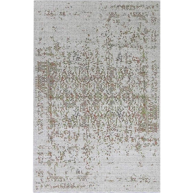 Distressed Turkish Gray Orange Rug - 5'3'' X 7'7''