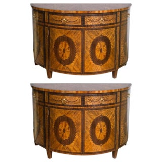 Pair of Adams Style Demilune Cabinet Commodes With All Around Inlays of Flowers For Sale