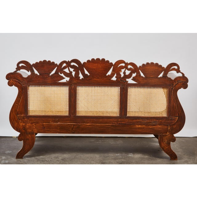 Indonesian Mahogany Settee with Carved Rattan/Wicker Back and Seat - Image 9 of 9
