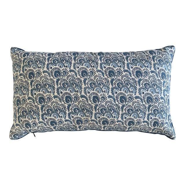 Peter Fasano Blue Linen and Peacock Mohair Lumbar Pillow For Sale