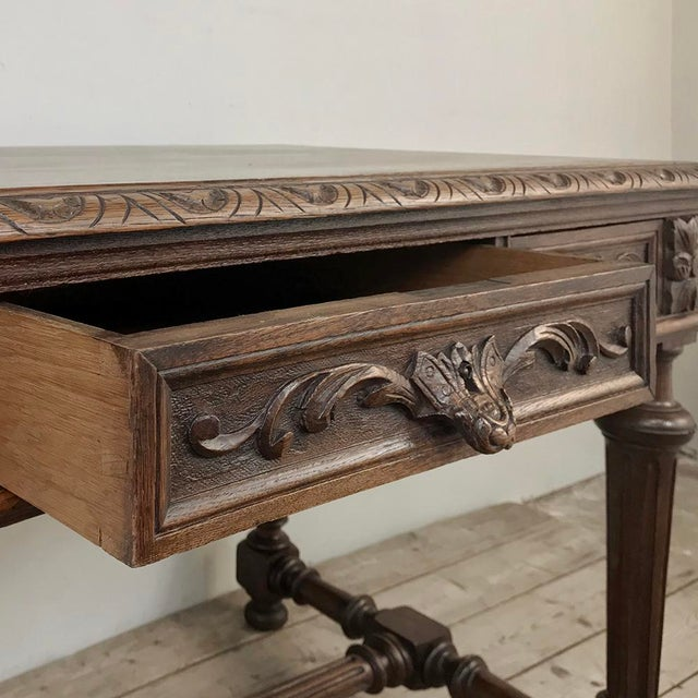 Brown 19th Century French Renaissance Writing Table For Sale - Image 8 of 13