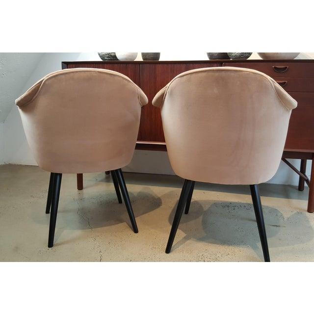 Mahogany Italian Modern Blush Velvet Chairs - A Pair For Sale - Image 7 of 10