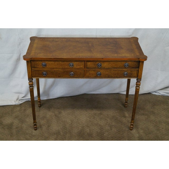 Quality English burl walnut Sheraton style console foyer table. Traditional style, clean vintage condition. Made in...