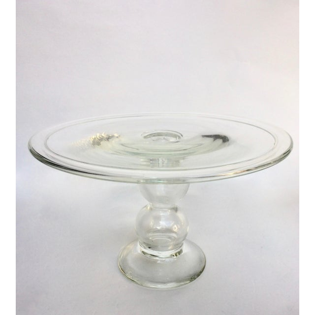Blown Glass Cake Stand With Lid - Image 3 of 3