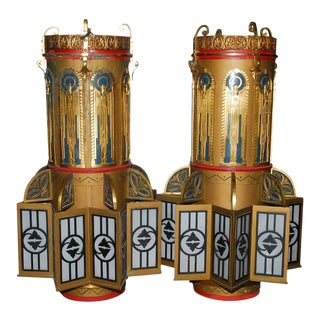 Monumental Art Deco Lights - A Pair For Sale