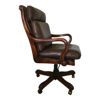 Genuine Leather and Mahogany Executive Office Swivel Desk Chair