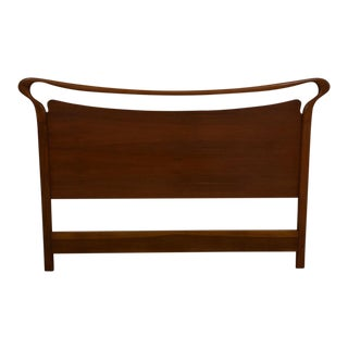 Sculpted Walnut Queen Headboard For Sale