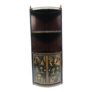 Tole Chinoiserie Corner Wall Cabinet For Sale