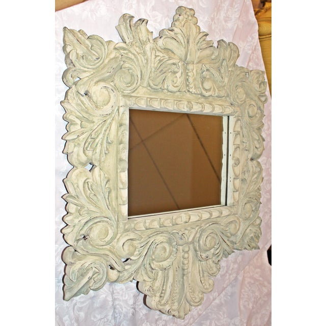 Baroque Painted Carved Mirror For Sale - Image 3 of 5