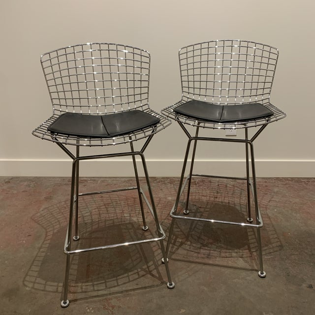Chrome Bertoia Barstools by Knoll With Black Leather Seat Cushions - a Pair For Sale In Kansas City - Image 6 of 6