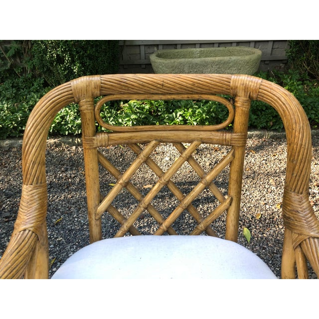 Brown Mid-Century Franco Albini Style Rattan Swivel Dining Chairs - Set of 6 For Sale - Image 8 of 12