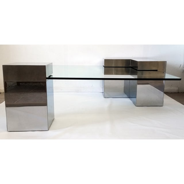Paul Evans Style Chrome & Glass Coffee Table - Image 4 of 7