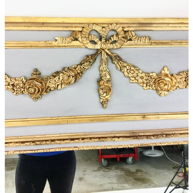 Neoclassical Ave Home Neoclassical Style Gray and Gold Leaf Trumeau Wall Mirror For Sale - Image 3 of 6