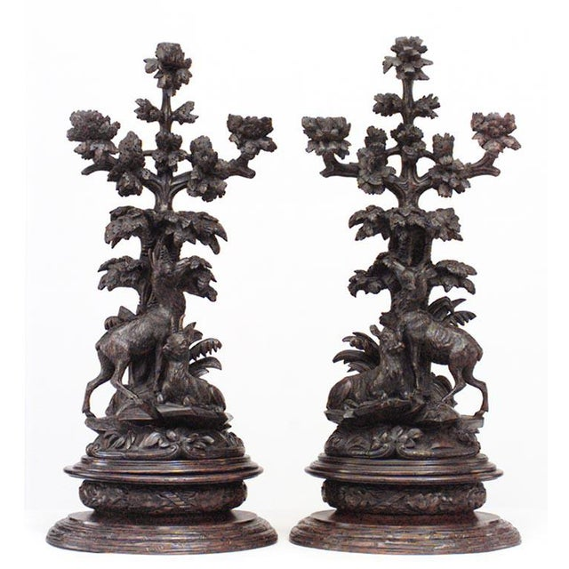 Pair of Rustic Black Forest, 19th Century Carved Walnut Three-Arm Candelabra For Sale - Image 9 of 9