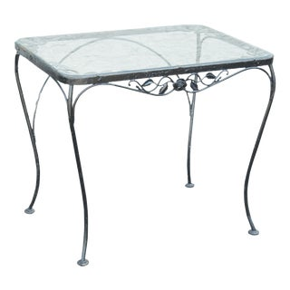 Woodard Chantilly Rose Vintage Wrought Iron Glass Top Patio, Garden Table For Sale
