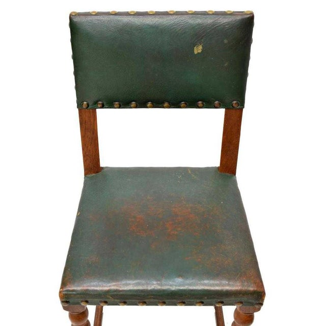 Vintage Mid Century Renaissance Revival Style Oak Side Chairs- Set of 5 For Sale - Image 4 of 5