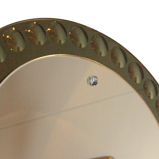 1950s 1950s Round Mirror, Intaglio Grey-Green Mirror Frame - Italy For Sale - Image 5 of 7