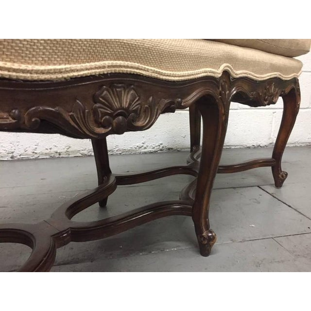Louis XV Style Six-Leg Walnut Tufted Bench For Sale - Image 4 of 5