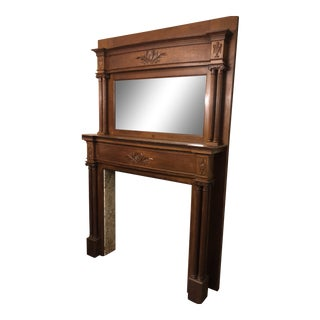 Victorian Tiger Oak Fireplace Mantle With Mirror For Sale