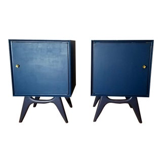 1960s Mid-Century Midnight Blue Nightstands - a Pair For Sale