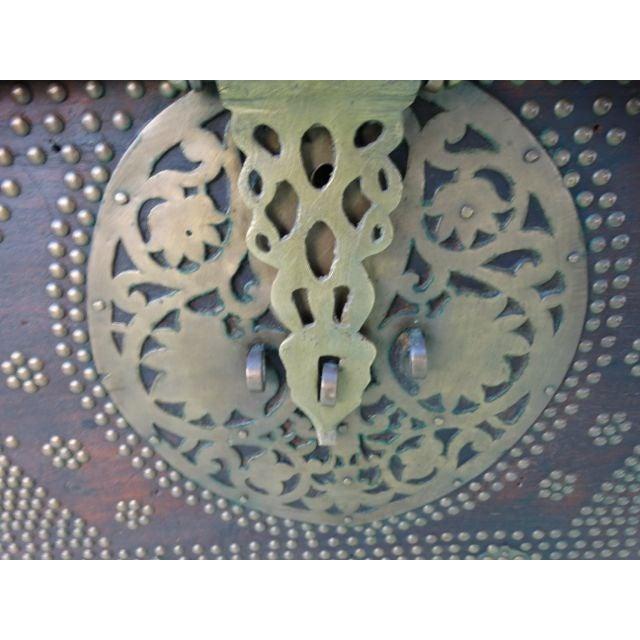 Wood Moorish Teak & Brass Studded Trunk For Sale - Image 7 of 9