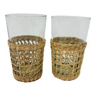 Pair Vintage Woven Wicker Covered Glasses For Sale