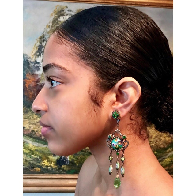 Baroque Czech Glass Long Dangling Green Chandelier Earrings With Screw-Clip Back For Sale - Image 3 of 8