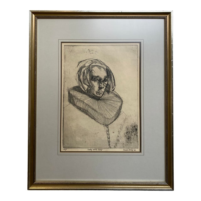 """1966 Vincent Perez Artist Proof """"Lady With Collar"""", Framed For Sale"""