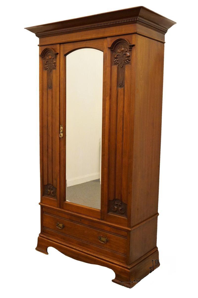 1940's Antique Armoire With Mirrored Door