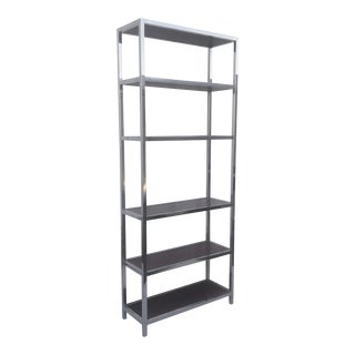 Mid-Century Rosewood & Chrome Etagere Bookcase For Sale