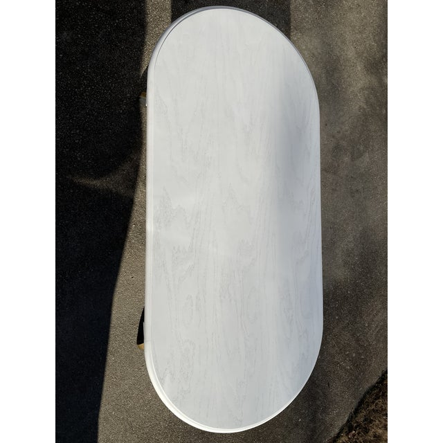 Wood Vintage Rustic Painted Oval Coffee Table For Sale - Image 7 of 12