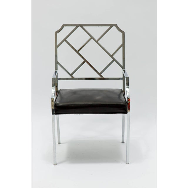 DIA - Design Institute America 1970s Vintage Milo Baughman for Dia Chrome Lattice Back Dining Chairs- Set of 6 For Sale - Image 4 of 9