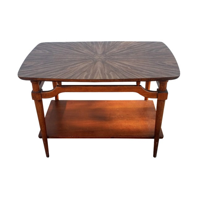 Mid-Century Lane Side Table W/ Laminated Pattern For Sale